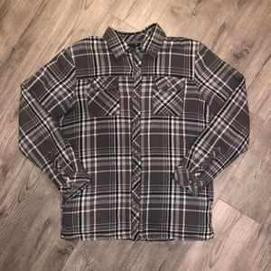 O'Neill Flannel Plaid Sherpa Lined Shirt Pockets M